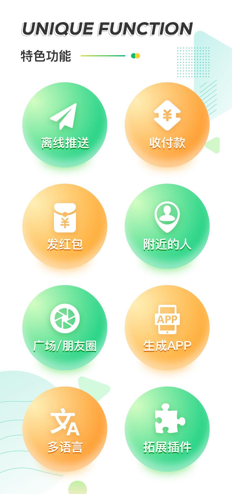 特色功能:离线推送,收付款,发红包,附近的人,广场朋友圈,生成APP,多语言,拓展插件